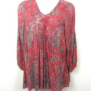 Free People Boho Red Lace Up Summer Dress Size M